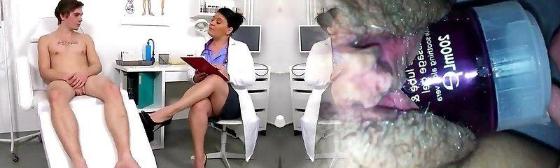 Chubby uniform woman Danica jerking off big man meat