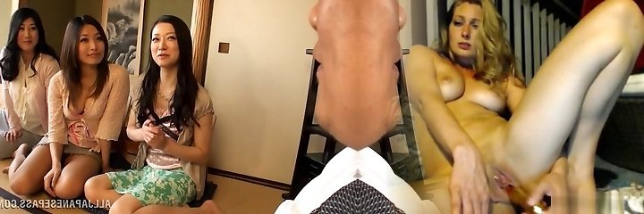Huge-titted Housewifes Crew Up On One Guy And Jerk Him Off