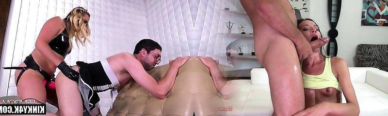 Hot porn industry star femdom with cumshot
