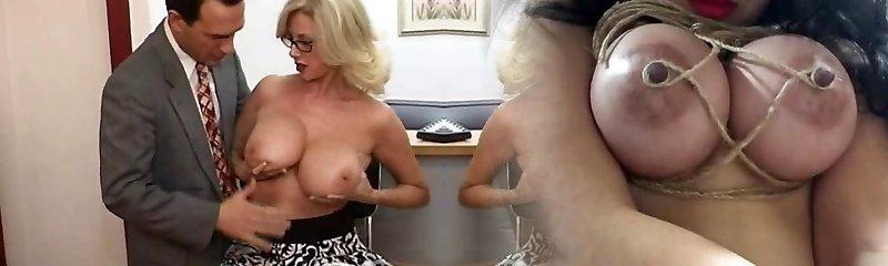 Mature secretary gets jizm on her big tits