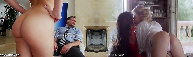 Tied up mature man gets gargle blowjob by Aidra Fox