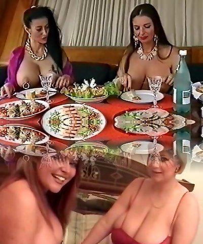 Two big-chested pierced sluts having fun