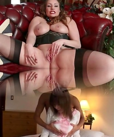 Natural humungous mounds brunette Sophia Delane strips to nylons heels and strokes