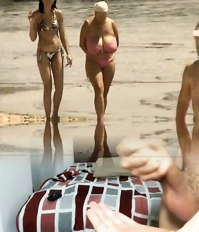 Retro enormous baps mix on Russian beach