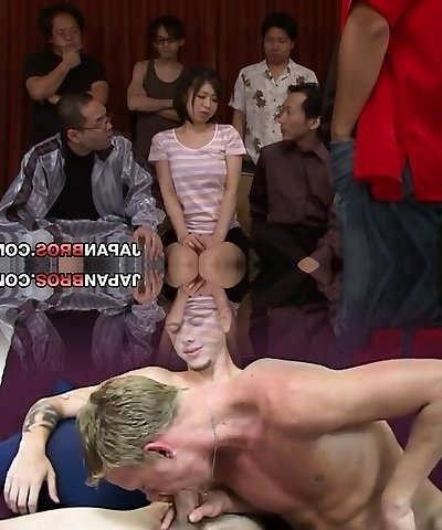 Yuuka Tsubasa in a huge group sex drinks jism from a glass