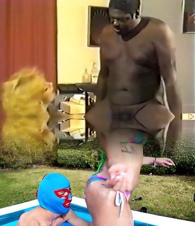 Ebony boss fucking redhead whore