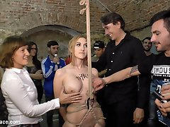 We have Mona Wales back! And to make it even crazier she's brought along Juliette March to brutally humiliate two gorgeous slutty loser models! These rope bondage whores get tied up in a public park in front of a huge crowd and take a serious corporal punishment! Next these disgraced sluts get stripped fully naked in public and told to bark like dogs for the huge crowd to see! Finally we tie up these beautiful models again for an epic fucking and fisting! Do not miss this public humiliation with Mona Wales, Juliette March, perky Claudia Nicole, and busty Valeria Blue!!!