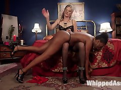 Horny dominatrix Mistress Mona Wales orders up kinky call girl to entertain her sexy sadistic fantasies with spanking, pussy licking, finger banging, suspension bondage, dick on a stick, fisting, pussy and anal strap-on fucking!