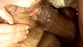 Retro huge-boobed fem worships ebony guy