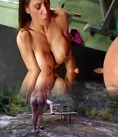 muscled dame fucking her fitness trainer