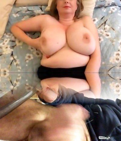 Facial big tits wank