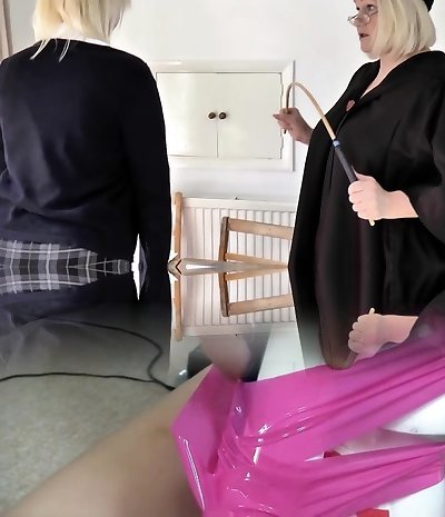 Younger towheaded student gets spanked from her older professor