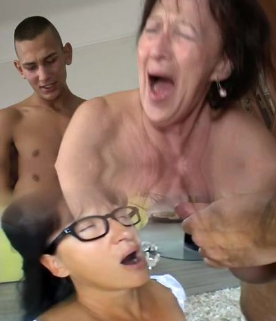 Granny Luvs Young Fellow's Balls and Ass