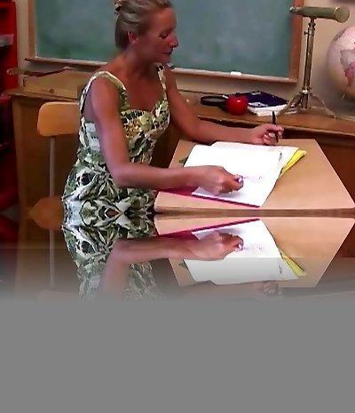 Horny mature teacher screws her pussy and sucks cock