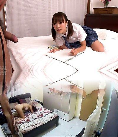 Lusty Japanese college mega-slut Momoka Rin sucks juicy cock of her camera fellow