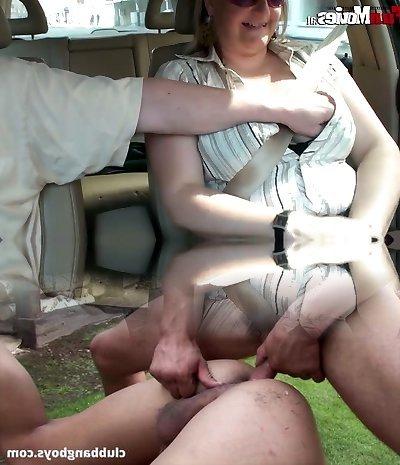 Gross fat bitch milks off dick in the car