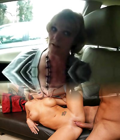 Mature wife gives fine deep-throat to man on car