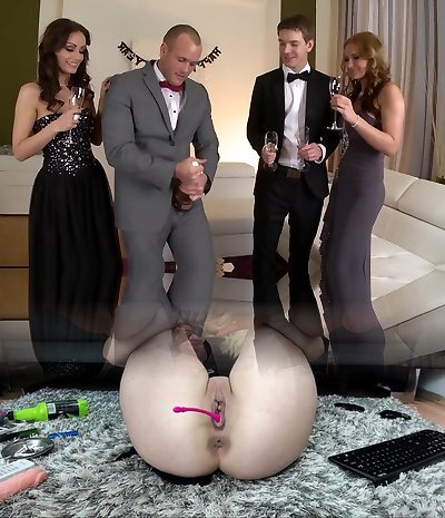 Exotic pornographic stars Sophie Lynx and Abbie Cat in horny group sex, mature adult scene