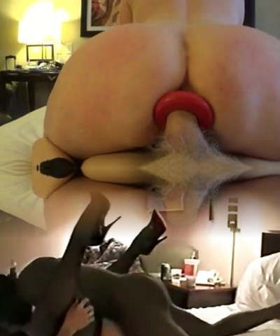 PR's anal tunnel buttplug insertion and screw