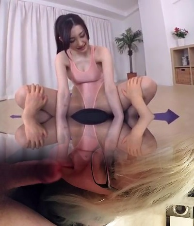 Spectacular woman of lingers inserted yoga leotard