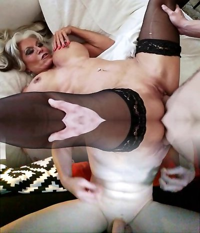 Sexually loveful platinum-blonde woman with hefty tits