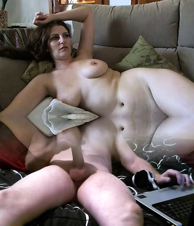 Busty mature brunette with massive boobs and hairy labia strips