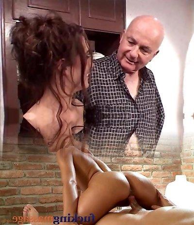 Boy fucks random mega-slut with his wife looking over them
