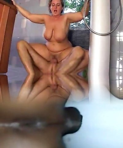 ultra-cute mom with saggy tits hard-pokes the pool
