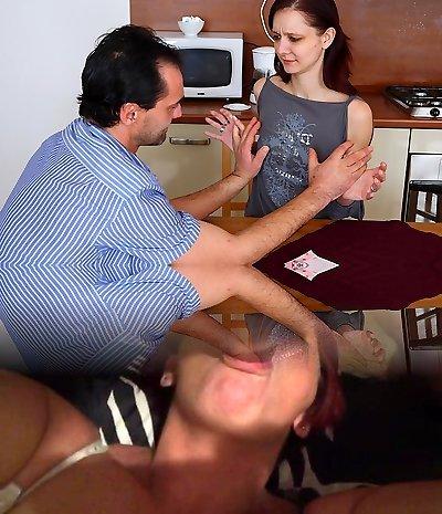 TrickyOldTeacher - Brunette college girl gives mature teacher cock sucking and fucks him