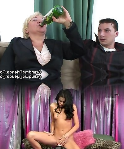 Boozed light-haired granma is double fucked