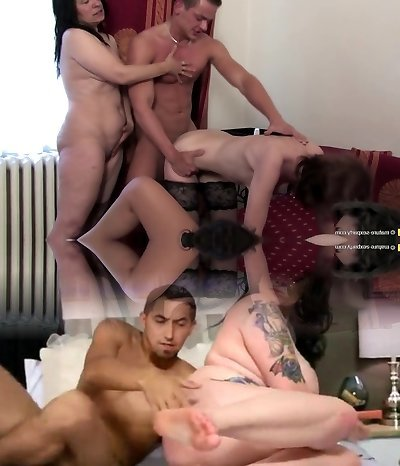 Insane home party mothers share one young cock