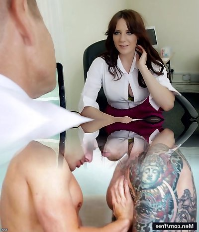 Mature greedy chief mouth plows big boobed brunette strumpet in his office hard