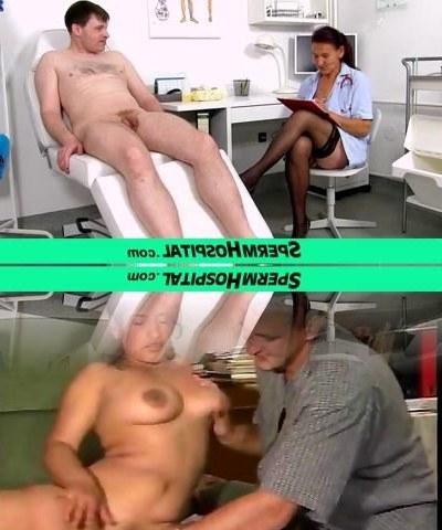 A patient receives a hand job from grandma nurse Linda