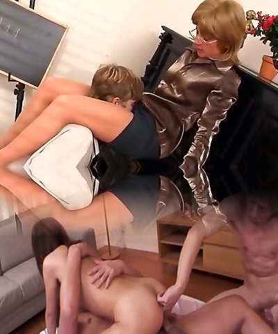 Aged piano teacher dominates her student