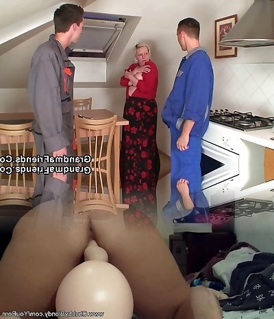2 repairmen fuck busty grandmother from both ends