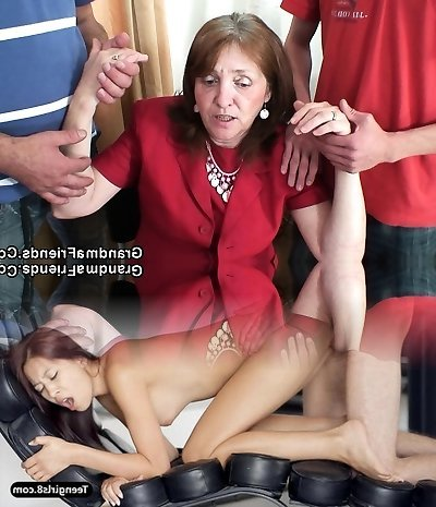 Screwing huge-titted granma in stockings from both sides