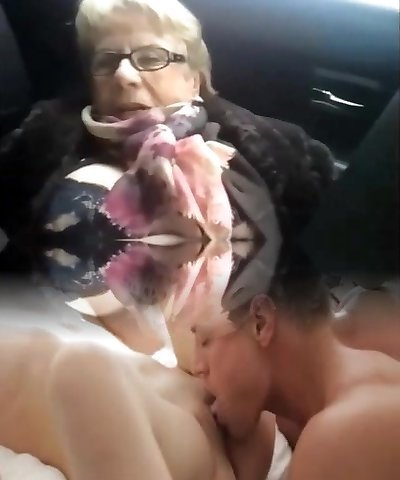 Dirty granny car piss
