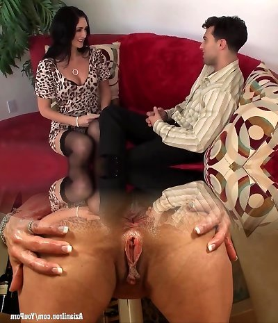 Tall mature in tights take a facial cumshot (TOP MATURE)