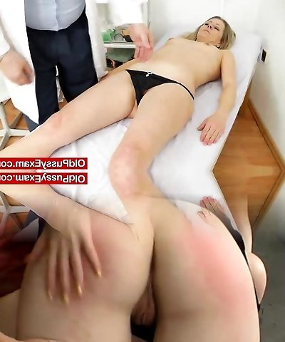 Smoking-molten blonde lady getting a gynecology