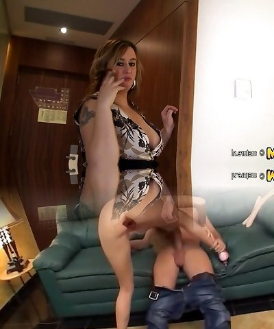 Good-sized titted mature tattooed mother playing with herself