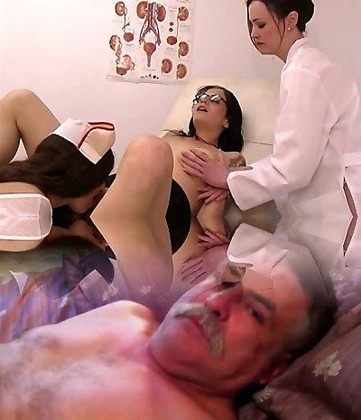 Crazy nurses pummel hot brunette patient in glasses