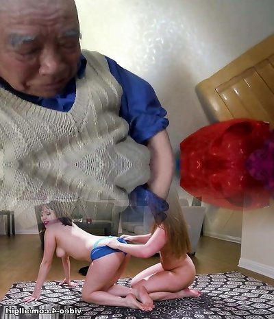 Chinese granny is having joy with grandpa