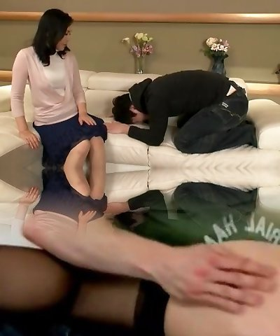 Lustful Japanese mom has a younger boy satisfying her sexual desires
