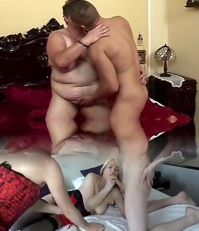 Plump mature and her young lover