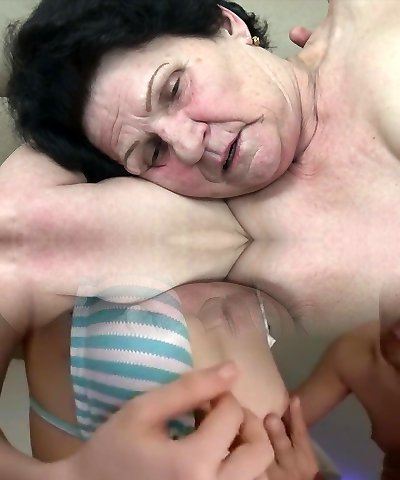 Granny seduced by insane young guy!