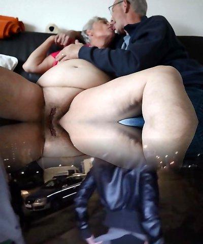 Fat senior granny kissing