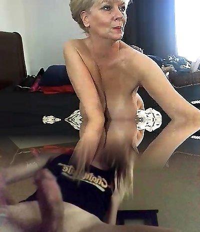 Chubby platinum-blonde in cotton panties uses big fucktoys