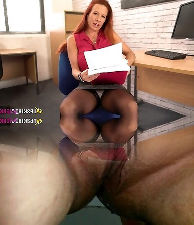 Perverted office UK tart Faye Rampton exposes and teases her clean-shaved cunt