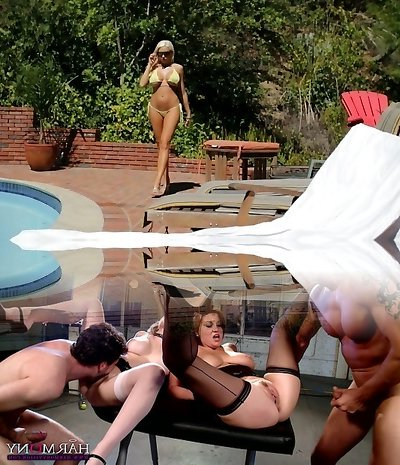 Uber-sexy mommy in yellow bikini gets boinked by a handsome guy