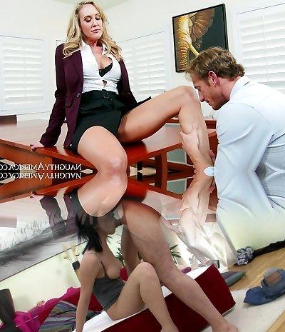 Brandi Enjoy gets her gash finger-tickled by Ryan Mclane in the office